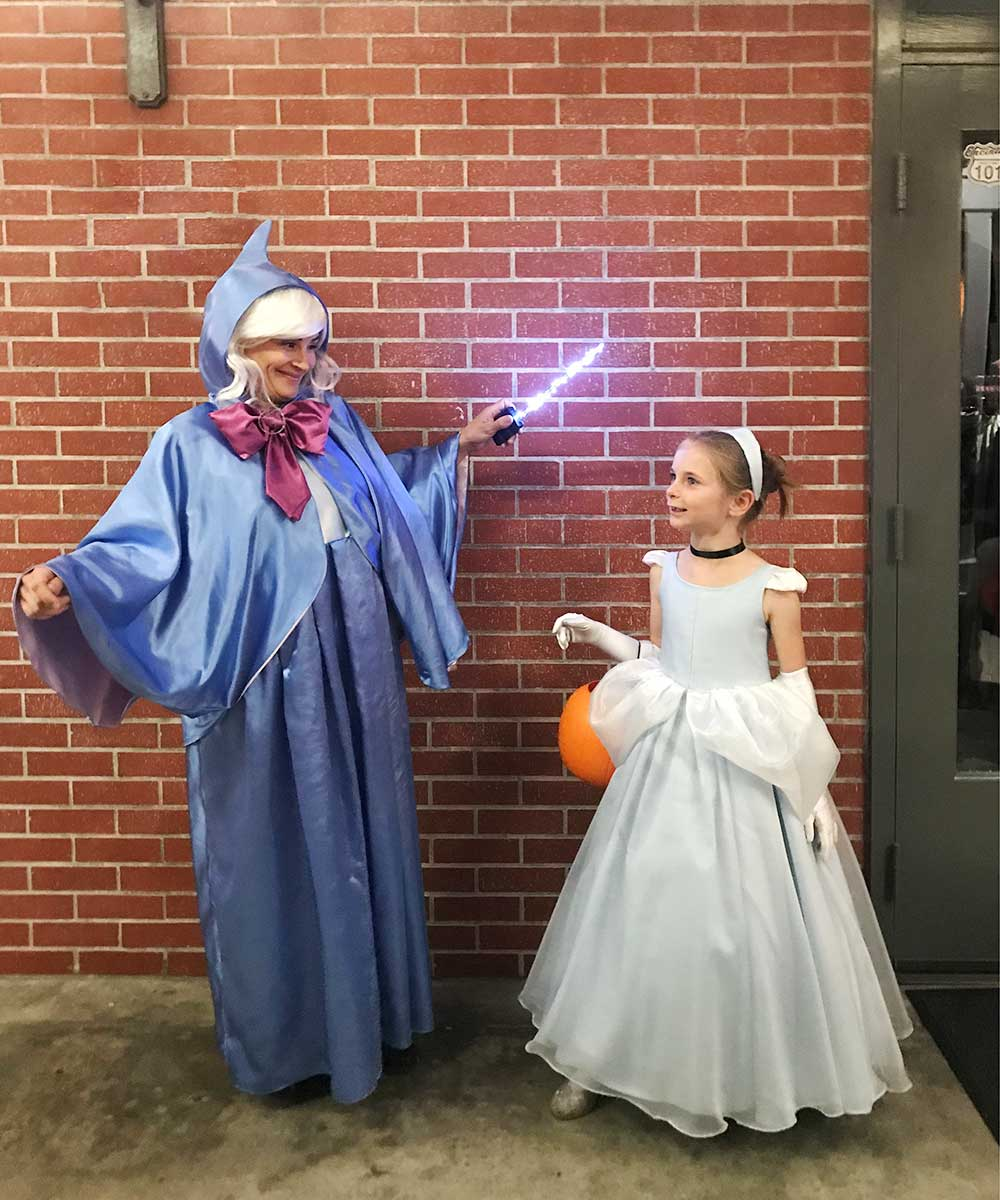 Cinderella and fairy godmother costumes