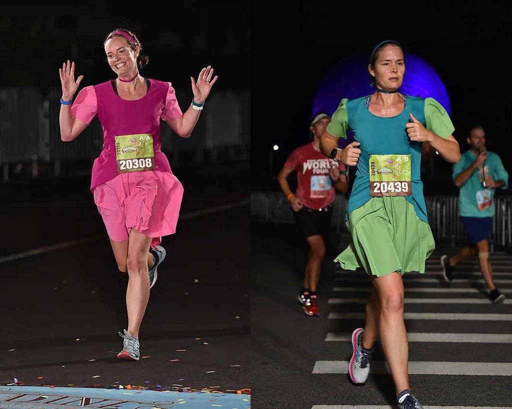 RunDisney Wine and Dine half marathon running costumes - Anastasia and Drizella stepsisters