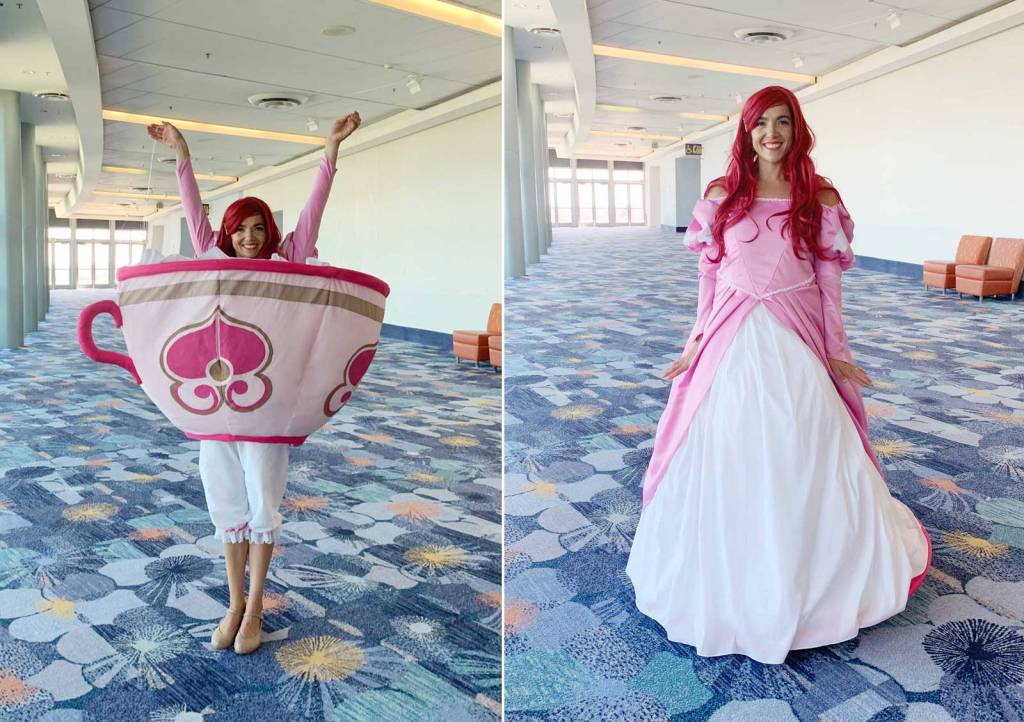 "D23 Expo Mousequerade costume contest ""Cast of Characters"" 2019 winner ""Mad Princess Party"" transformation teacup dress - Ariel from The Little Mermaid"