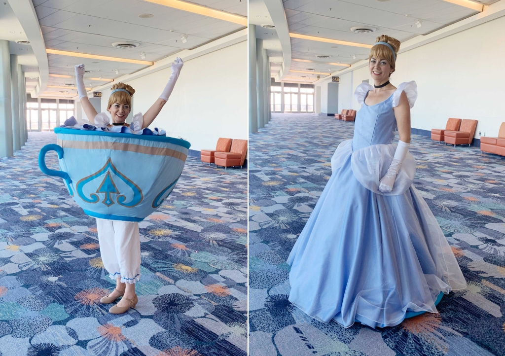 "D23 Expo Mousequerade costume contest ""Cast of Characters"" 2019 winner ""Mad Princess Party"" transformation teacup dress - Cinderella ballgown"